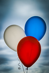 Patriotic Balloons (Carolyn Marshall Photography) Tags: birthday carnival blue red party sky white holiday color clouds balloons festive fun happy three flying colorful bright many vibrant baloon joy group balloon decoration happiness patriotic celebration entertainment round surprise bunch colored strings ribbon colourful streamers celebrate isolated threeballoons carolynmarshall carolynmarshallphotography