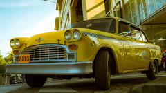 Taxi Driver (Maxime Bonzi) Tags: cinema france film car festival jaune movie lyon lumière taxi voiture bleu ciel vehicle driver rue premier extérieur institut 2015 véhicule villle