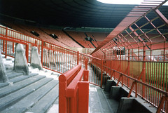 Fences-Old Trafford (johnmoffatt2000) Tags: old red man game green water field grass lines sport fence manchester football stadium soccer united ground sprinkler rails end pitch barrier trafford irrigation stands stretford