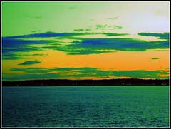 Sunset At The Beach - Photo Taken by STEVEN CHATEAUNEUF On August 27, 2015 - Heat Map & Extra Satuation Were Added On February 23, 2016 by STEVEN CHATEAUNEUF (snc145) Tags: ocean pink blue sunset sea summer vacation sky orange green beach nature water colors clouds photoshop photo colorful seasons outdoor maine saturation ripples yorkbeach heatmap 2015 editedimage stevenchateauneuf august272015 february232016