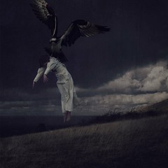 Imagination Gives You Wings (theroad2home) Tags: portrait woman painterly storm bird art girl field mystery clouds danger self dark flying wind horizon fine surreal floating folklore eerie fantasy raptor dreams mysterious imagination conceptual soaring predator timeless textured lore nightmares subconscious destined