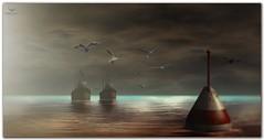 @ Frisland~Cyan Silence... (Skip Staheli (Clientlist closed)) Tags: ocean reflection water boat skies exploring peaceful calm sl digitalpainting secondlife dreamy sim seagul windlight frisland skipstaheli jayteddermurs