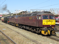 """46100 """"Royal Scot"""" 47760 & 37706 on 5V44 to Southall at Crewe 20/04/2016 (37686) Tags: west coast all transport 66 class steam kettle crewe 37 southall 47 types 57 royalscot railfreight 37706 46100 47760 5v44 20042016"""