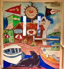 San Francisco images: Art covering doors.  EXPLORED (ArtsySFMarjie) Tags: sf art doors fishermanswharf sfgiants sealions iconic aegis sf49ers sanfranciscoicons