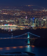 Vancouver landmarks lit up at night (Spencer Finlay) Tags: