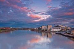 Sunset from Infinity. (paul downing) Tags: sunset reflections spring nikon 12 filters barrage hitech gnd rivertees pd1001 infinitybridge pauldowning d7200 pauldowningphotography wolfsoninsitute durhamuniversityqueenscampus