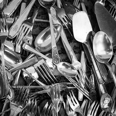 Cutlery at a flea market (Norbert Reich) Tags: blackandwhite square messer forks lffel besteck cutlery spoons knifes gabeln