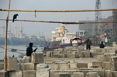 morning moves (Shadman241091) Tags: street morning winter sea people bird canon flying ship exercise blocks crows bangladesh chittagong