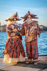 Matching Couple (Kayla Stevenson) Tags: venice costume model piazza sangiorgiomaggiore dominiquecauberghs