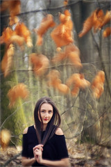 springtime or autumn? (AdisX | Andrius Maciunas) Tags: portrait woman texture colors girl face leaves lens diy hands colorful bokeh f32 84mm achromat
