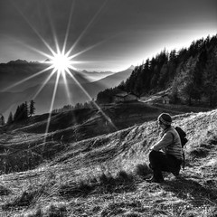 Taking in the energy from the sun (Fabrizio Malisan Photography @fabulouSport) Tags: sunset blackandwhite bw panorama sun mountain mountains blancoynegro landscape landscapes tramonto noiretblanc panoramic tramonti sole bianconero bnw biancoenero coucherdusoleil