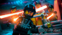 Intruder Alert 9 - Blaster Dance (agaethon29) Tags: macro toy lego space scifi spaceman sciencefiction minifig minifigs cinematic minifigure 2016 ncs minifigures blacktron toyphotography intruderalert legospace classicspace neoclassicspace legophotography legography novateam brickography