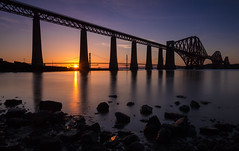 Sunset at the Forth Bridges (Kyoshi Masamune) Tags: uk longexposure sunset scotland edinburgh wideangle northsea lowtide firth firthofforth forthbridge southqueensferry northqueensferry forthroadbridge forthrailbridge ultrawideangle forthrailwaybridge nd8 nd1000 cokinfilters cokinnd8 forthreplacementcrossing zomei kyoshimasamune zomeind1000