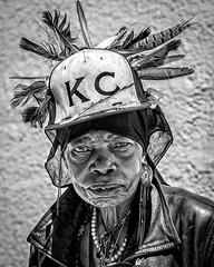 Feather Woman (Jim-Mooney) Tags: street portrait people blackandwhite bw black monochrome photography mono blackwhite fuji candid monotone kansascity fujinon xt1 50140mm