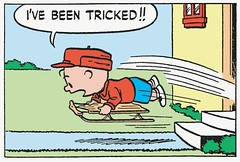 I've been tricked!! (Tom Simpson) Tags: illustration vintage comics peanuts 1950s sledding comicstrip charliebrown charlesschulz trick sled 1952 tricked charlesmschulz newspapercomics
