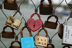 Padlocks of love (Mone-Photography) Tags: bridge love fence harbor rotterdam heart lock locks padlock padlocks katendrecht heartshap rijnhavenbrug hoerenloper