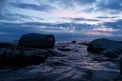 Sunset afterglow (evisdotter) Tags: sky nature water colors clouds reflections evening waves dusk bluehour land sooc sunsetafterglow hammarudda