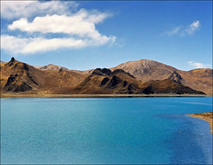 Yamdrok tso (Katarina 2353) Tags: china mountain lake film spring nikon turquoise tibet himalayas yamdroktso katarinastefanovic katarina2353