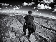 Mam Tor - Taking in the view (joeoswinphoto) Tags: people blackandwhite bw nature landscape view district peakdistrict peak tor mam mamtor greatridge gopro