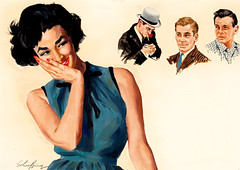 My Many Men by Jim Schaeffing, circa 1950 (Tom Simpson) Tags: woman sexy girl illustration vintage painting lips 1950s jimschaeffing mymanymen