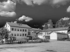 Mntsln Kirkonkyln koulu (MikeAncient) Tags: school sky blackandwhite cloud monochrome clouds geotagged spring hdr primaryschool vappu pilvet mntsl pilvi firstofmay kevt taivas mustavalkoinen tonemapped tonemap mustavalkokuva