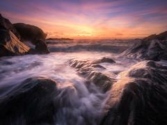 8 minutes and 20 seconds (Timothy Gilbert) Tags: sunset rocks cornwall waves glow newquay wideangle panasonic boulders ultrawide fistral m43 gx7 microfourthirds olympus918mmf4056