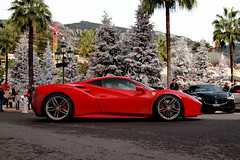Dirty Red (D.N. Photography) Tags: auto christmas travel trees red paris tree cars car canon square de outside outdoors eos hotel automobile outdoor profile automotive ferrari casino monaco palm vehicles exotic transportation vehicle carlo monte supercar automobiles exotics gtb supercars 488 worldcars