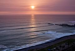 Pacific sunset (kud4ipad) Tags: ocean park sunset sun peru landscape pacific kodak horizon miraflores 2013