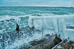 A cold splash (anneandalucia) Tags: ocean winter sea ice denmark waves