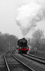 NVR 34276bwcontred (kgvuk) Tags: trains locomotive railways 440 steamtrain steamlocomotive morayshire nvr nenevalleyrailway ortonmere d49 62712