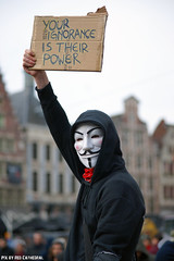 Your ignorance is their power (Red Cathedral [FB theRealRedCathedral ]) Tags: sony sonyalpha alpha aztektv cosplay larp eventcoverage a850 redcathedral streetphotography anonymous opawakening gent manifestation protest resist occupy millionmaskmarch mask march banners leftwingdemonstration vforvendetta guyfawkes gunpowderplot resistance nosecrettppnotipptradedeals anon nogmofood gmoscontinuetolabelorbanit fordemocracy whencorporationsrule 20152016 placard