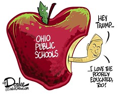 0316 kasich trump poorly educated cartoon (DSL art and photos) Tags: ohio election governor schools donaldtrump republican editorialcartoon 2016 charterschools publicschools donlee presidnetial johnkasich poorlyeducated