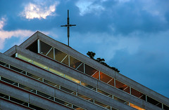 House of the Holy (Tomcat mtl) Tags: roof reflection church glass architecture clouds triangle sundown crucifix