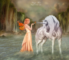 The Chance Meeting ... (rubyblossom.) Tags: water animal butterfly 1 waterfall rocks background fantasy antics horn angies unicorn challenge fary 2016 premand rubyblossom rubystreasures