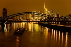Golden Skyline (c-u-b) Tags: skyline night reflections river germany lights bride golden nacht frankfurt main nighttime brcke spiegelung frankfurtammain rivermain