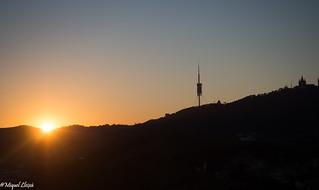 Skyline  Barcelona sunset