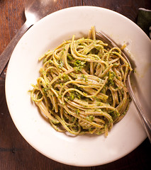 Organic Farro Linguine with Sicilian Walnut Arugula Pesto