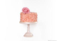 Pink Ruffle Cake (KiwiMiriam) Tags: pink white rose cake 35mm ruffles fuji chocolate ganache peony celebration mudcake fondant gumpaste xe2