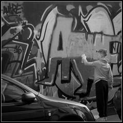 Gaffiti Artist (Donald Noble) Tags: boy male art wall landscape graffiti scotland edinburgh paint child boundary