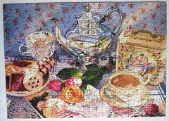 Jigsaw Gibsons Invitation to Tea. Artist Judy Koenig  IMG_5484 (rowchester) Tags: roses cup tin pieces tea sugar gibsons biscuits jigsaw 500 caddy judykoenig invitationtotes
