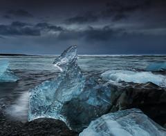 Icy Shoulders (Marshall Ward) Tags: winter seascape ice landscape blacksand iceland dusk roadtrip icebergs jkulsrln 2015 nikond800 afszoomnikkor2470mmf28ged marshallward