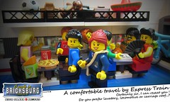 A comfortable travel by Express Train (EVWEB) Tags: roof comfortable train wagon carriage lego crowd locomotive express comfort lavatory minifigure
