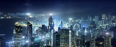 GATEWAY TO ASIA (Titanium007) Tags: china city nightphotography blue windows urban panorama green horizontal skyline buildings hongkong asia cityscape skyscrapers towers citylights nightphoto fareast victoriapeak citypanorama