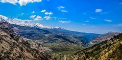 Bcharri and Hasroun From Kadisha Grotte, Lebanon (Paul Saad (( ON/OFF ))) Tags: blue sky lebanon mountain snow outdoor pano panoramic valley hq hdr kadisha hasroun bchare bcharri