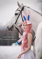 Sylveon & Tanamara (Hestefotograf.com) Tags: show friends summer horse white black girl norway bareback jump mare dress lets cosplay hannah go run riding pony barefoot pokemon welsh arabian elegant cob bestfriend rider equestrian canter equine equus equipage skien sylveon