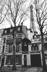 Streets of Paris (philtrd) Tags: street city blackandwhite white black paris france building monochrome architecture tour outdoor eiffeltower hipster eiffel retro eiffelturm