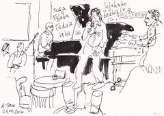 A-Trane Jazzclub  Band II -  Detlef Surrey (Detlef Surrey) Tags: concert jazz sketchbook jazzclub skizze livemusik urbansketches