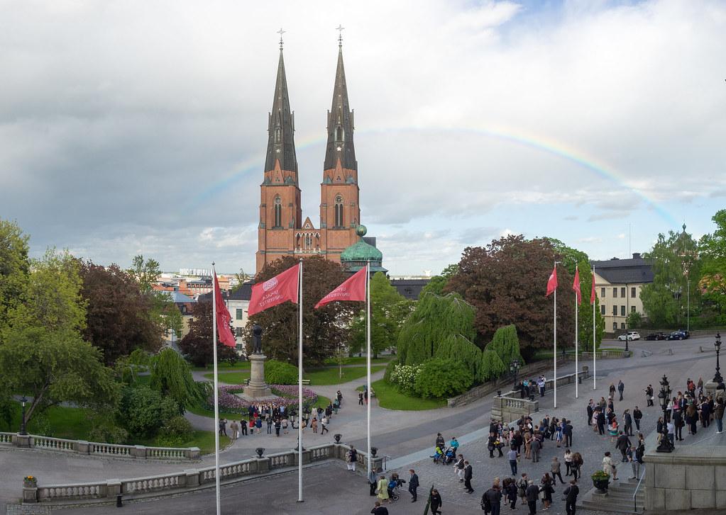 Rainbow at Uppsala University (LoveUppsala) Tags  park trees people rainbow  cathedral cloudy flag 158dd3674ba98
