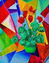 Cyclamen with Abstract (bridget281157) Tags: flowers blue red orange plants brown white abstract leaves yellow triangles purple stripes cyclamen acrylics realistic
