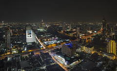 Lebau at State Tower, Bangkok (gintks) Tags: river spectacular thailand landscapes cityscapes bluehour riverview 2016 thailandtourism gintaygintks